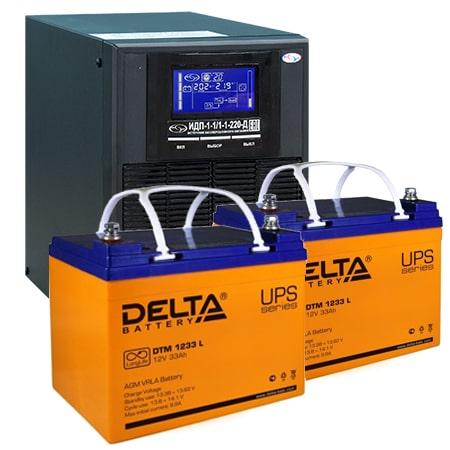 ИБП для газовых котлов 1 кВА ИДП-1-1/1-1-220-Д + АКБ 33 Ач