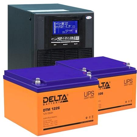 ИБП для газовых котлов 1 кВА ИДП-1-1/1-1-220-Д + АКБ 26 Ач